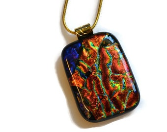 Dichroic Glass Pendant, Necklace, Fused Glass, Blue