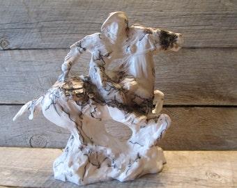 Pony Express Horse Hair Pottery Statue