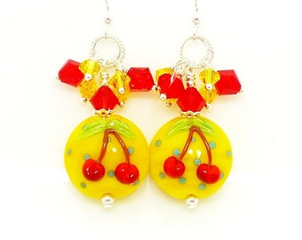 Yellow & Red Cherry Earrings, Cluster Earrings, Lampwork Earrings, Glass  Earrings, Beadwork Earrings, Unique Earrings, Dangle Earrings