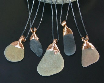 Finger Lakes beach stone pendants hand wrapped in phosphor bronze with hand formed bronze bails, oxidized sterling silver chains