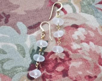 Beautiful Genuine Sea Glass Triple Dew Drop Earrings in White 14k Gold Filled 7892