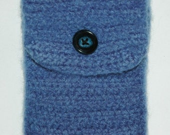 Handmade Blue Felted Electronic Device Cover, Cell Phone Cover, Clearance