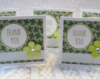 Four Leaf Clove Mini Thank You Cards with Flowers Set of 30