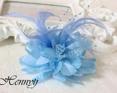 2 pcs Fashionable Gorgeous feather beads lace flower with FLAT  on the back - Baby LIGHT BLUE