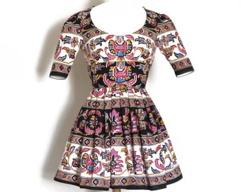 Magenta, Mustard, Blue Aztec Print Scoop Neck Mini Party Dress - Made by Dig For Victory