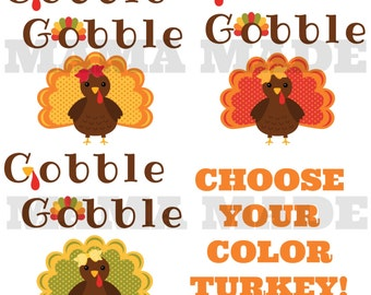 Girl's Fall Color Gobble Gobble Shirt or Bodysuit Turkey Shirt Thanksgiving Turkey Shirt Thankful Shirt GIrls Thanksgiving Shirt Turkey