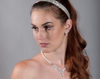 Bridal Crystal Headband Ivory- For Tulle or Birdcage Veil