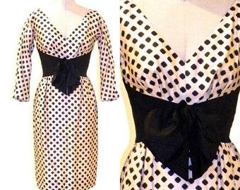 50s Dress, 1950s Cocktail Dress, Black & Beige Silk Polka Dot Mam'selle by Betty Carol Dress, XS