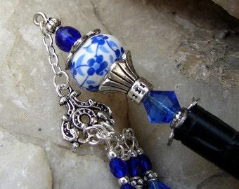 Blue Geisha Hair Stick - Sapphire Blue and Cobalt Glass Hair Accessories with Dangle Geisha Hairstick - Ramita