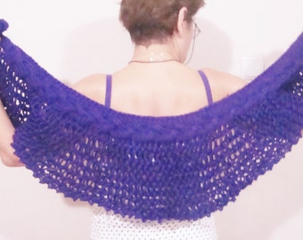 Hand knit shawl, Violet, Purple knitted shawl