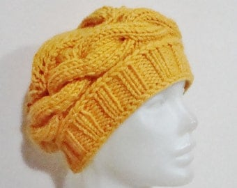 Hand Knit Hat, Womens Hat, Beret Hat, Winter Hat, Mustard Hat, Mustard Knit Hat, Mustard Yellow, Birthday Gift Women