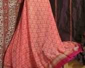 """Pink sari skirt your size up to 50"""" waist 36"""" long, recyled, bellydance, ATS"""