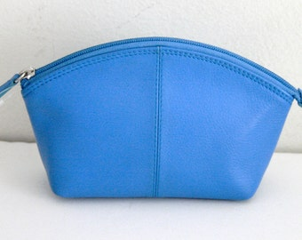 Soft Genuine Leather Make up pouch in Periwinkle Blue, Hard to find, Super Cute 1990's collection