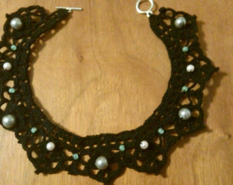 Olympia- Black Lace Crocheted Choker Necklace with Pastel Faux Pearls