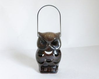 Vintage 1970's Brown Glazed Terra Cotta Hanging Owl Candle Holder Luminary