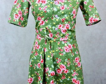1940s style floral print shirt dress in a variety of colours