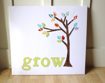 Nursery Wall Art or Chilren's Wall Art Fabric Tree with leaves