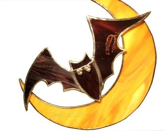 Halloween Decoration Stained Glass Suncatcher Purple Orange Bat Moon Handmade OOAK