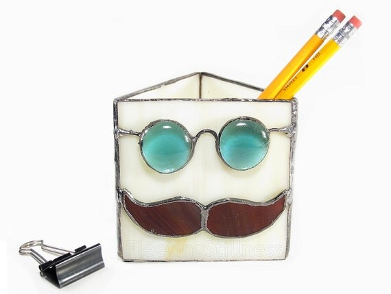 Stained Glass Pencil Holder for Him with Glasses and Brown Mustache Handmade OOAK