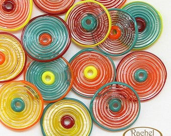 Lampwork Glass Disc Beads, FREE SHIPPING, Handmade Yellow, Teal, Red, Orange Artisan Glass Disc Beads - Rachelcartglass