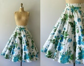 1950s Vintage Skirt - 50s Floral Cotton Circle Skirt - Early Spring