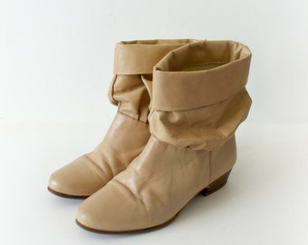 1980s Vintage Boots - 80s Leather Slouch Boots - One Way or Another