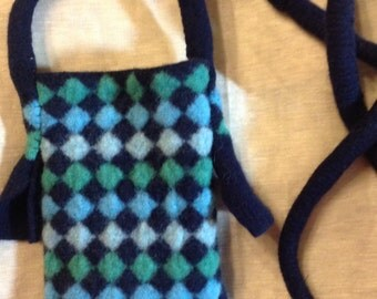 Wool Felted iPhone 6 case Black Green Blue Phablet Fablet Messenger Bag Cross Body