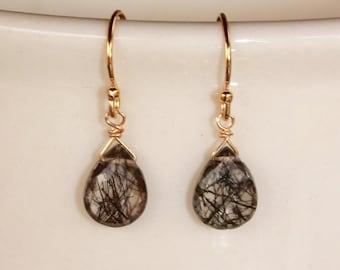 Rutilated Quartz Earrings, Silver or Gold, Rutilated Quartz Gemstone, Simple Earrings, Black Rutilated Quartz, Free Shipping