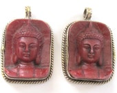 2 Pendants - Tibetan red color Buddha face pendant from Nepal - PS001B