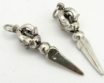 Tibetan silver plated Phurba dagger pendant from Nepal - CP063