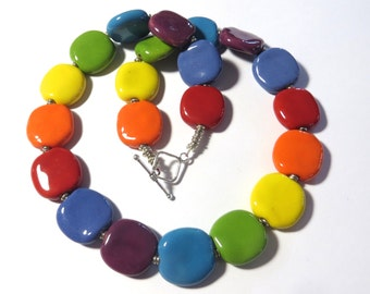 Rainbow Coloured Beaded Necklace, Ceramic Jewelry, Kazuri Bead Necklace, Statement Necklace