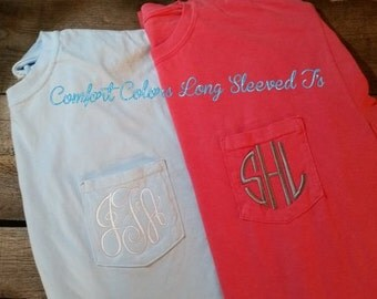 Monogrammed Long Sleeve Comfort Colors Shirts w/pocket