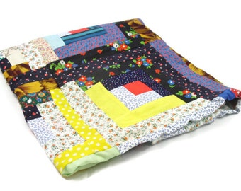Log Cabin Quilt top, small size throw, unfinished, great condition, ready to finish, bright colors, vintage