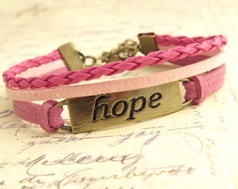Hope Cord Bracelet - Breast Cancer Awareness