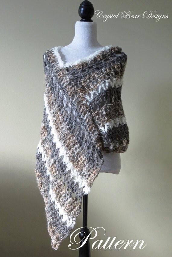 Crochet Poncho Pattern Asymmetrical Poncho By