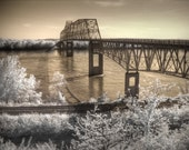 Bridge photo, infrared photography, Chester Illinois, Popeye, Landscape photography, fine art photography, sepia photography, bridge