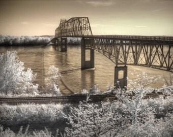 Bridge photo, infrared photography, Chester Illinois, Popeye, Landscape photography, fine art photography, sepia photography, bridge