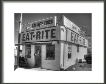 Eat Rite Diner, Black and white diner, diner photography, St. Louis Photography, vintage diner, kitchen home decor, St. Louis Missouri