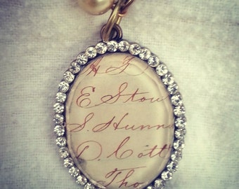 Vintage Antique Brass Glass Script Cabochon Pendant Surrounded by Rhinestones with Includes chain