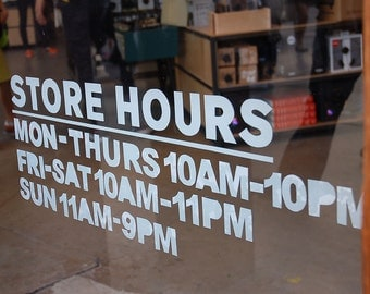 "9"" Height Simple custom business hours sign_vinyl stikcer decal"