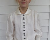 Vintage Girls Retro Satin Blouse White Rhinestone Buttons Floral Embroidery 8 9 10