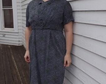 Vintage 50s Cotton Print Dress County Fair Plus 46 Bust 39 Waist
