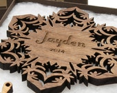 Personalized Ornament - Christmas Snowflake Gift Box Set . Custom Engraved Wood Snowflake . Timber Green Woods