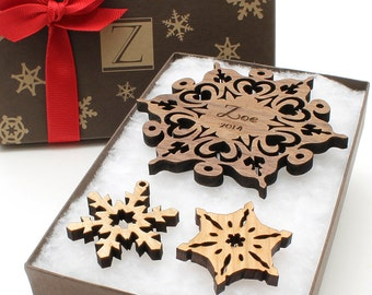 Name Flake - Custom Wood Snowflake Ornament - Personalized Laser Engraved Ornament Set in a Monogram Gift Box