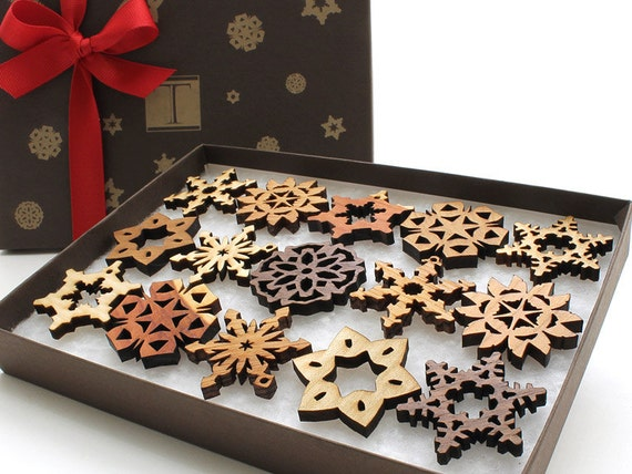 CLEARANCE!  Mini Wooden Snowflake Ornament Gift Box. Rustic Handmade Designs Laser Cut from Sustainable Harvest Wisconsin woods.