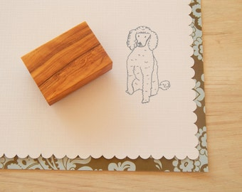 Sitting Poodle Olive Wood Charity Stamp