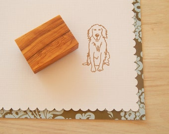 Golden Retriever Olive Wood Charity Stamp