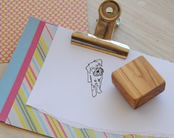 Schnauzer Pup Olive Wood Charity Stamp