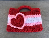 Red, Pink, and White Valentines heart Purse Kids Crochet Purse