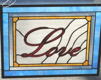 Love Stained Glass Window Panel
